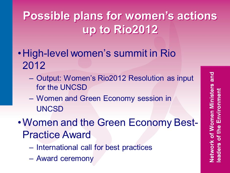 Network of Women Ministers and leaders of the Environment Possible plans for womens actions up to Rio2012 High-level womens summit in Rio 2012 –Output