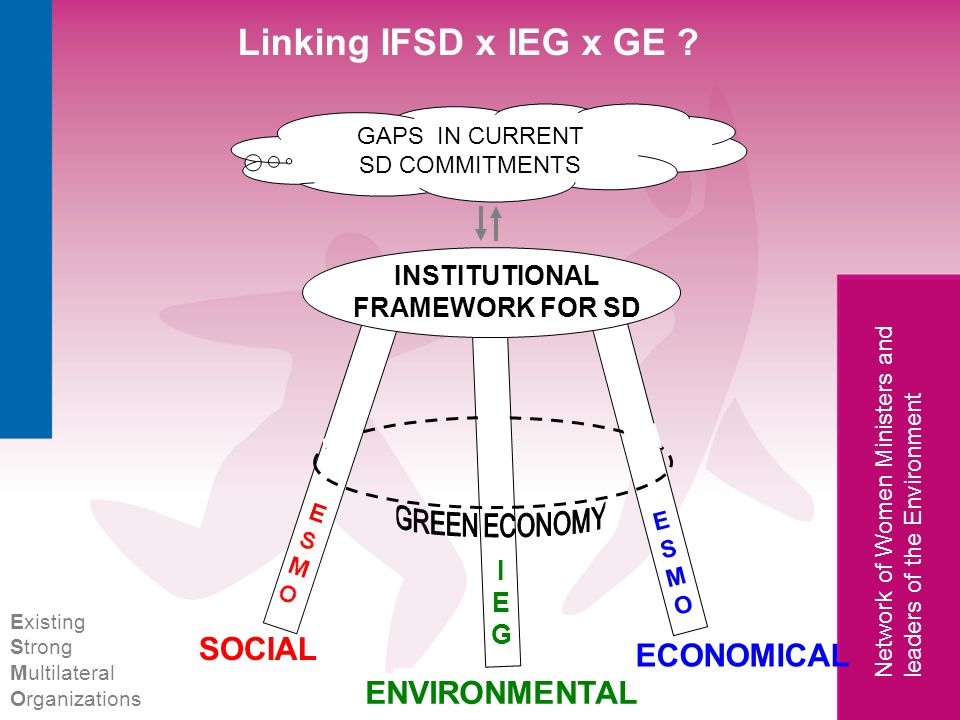 Network of Women Ministers and leaders of the Environment Linking IFSD x IEG x GE ? ENVIRONMENTAL SOCIAL ECONOMICAL INSTITUTIONAL FRAMEWORK FOR SD ENV