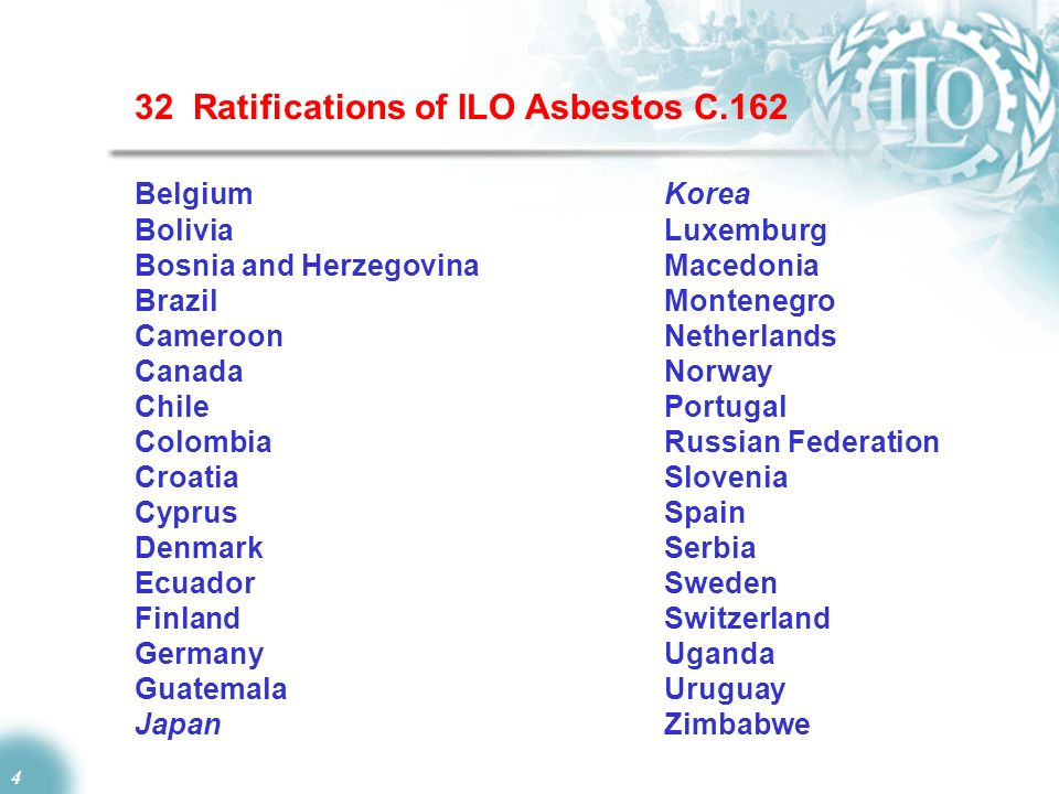 4 32 Ratifications of ILO Asbestos C.162 Belgium Korea Bolivia Luxemburg Bosnia and HerzegovinaMacedonia BrazilMontenegro CameroonNetherlands Canada N
