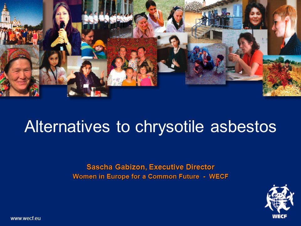 Alternatives to chrysotile asbestos Sascha Gabizon, Executive Director Women in Europe for a Common Future - WECF www.wecf.eu