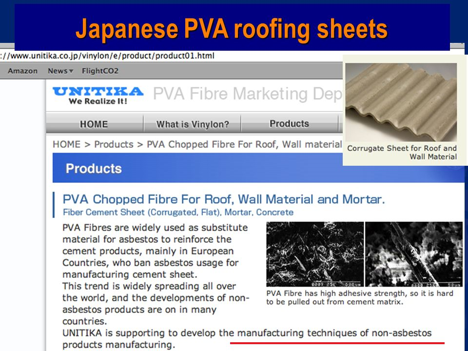 Japanese PVA roofing sheets