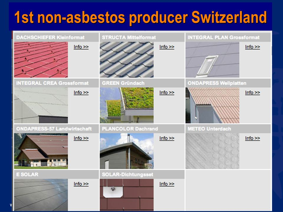 www.wecf.eu 1st non-asbestos producer Switzerland