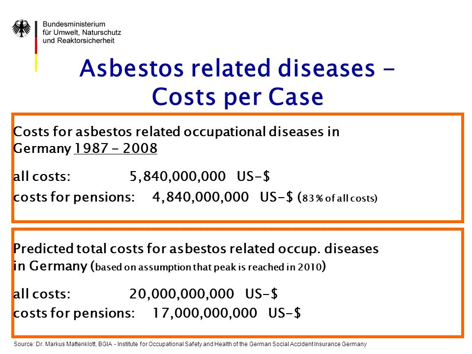Asbestos related diseases - Costs per Case Costs for asbestos related occupational diseases in Germany 1987 - 2008 all costs: 5,840,000,000 US-$ costs for pensions: 4,840,000,000 US-$ ( 83 % of all costs) Predicted total costs for asbestos related occup.