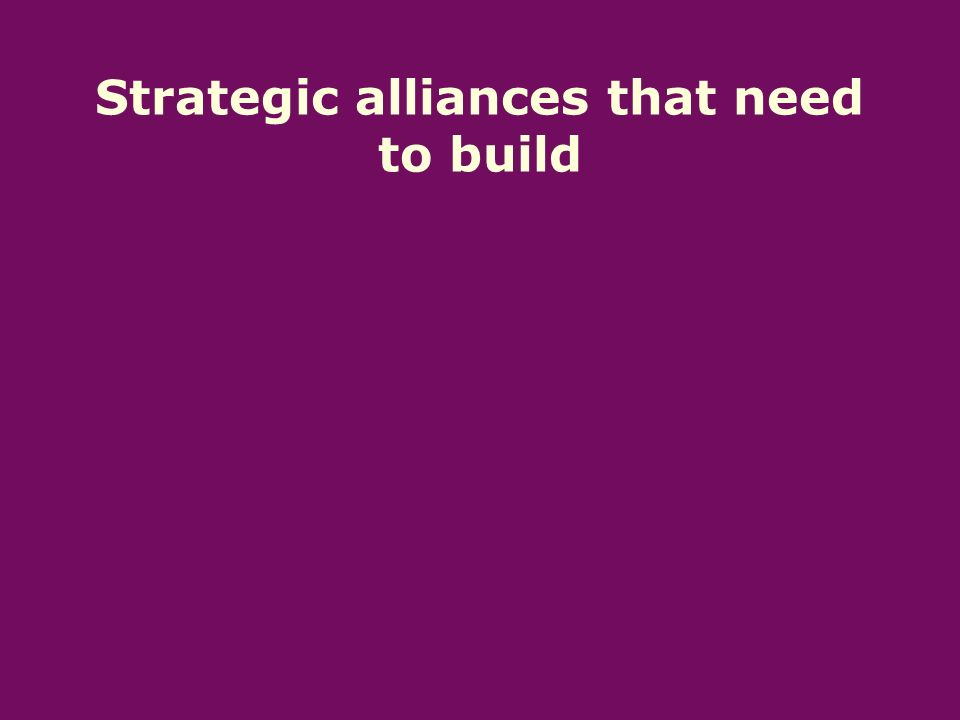 Strategic alliances that need to build