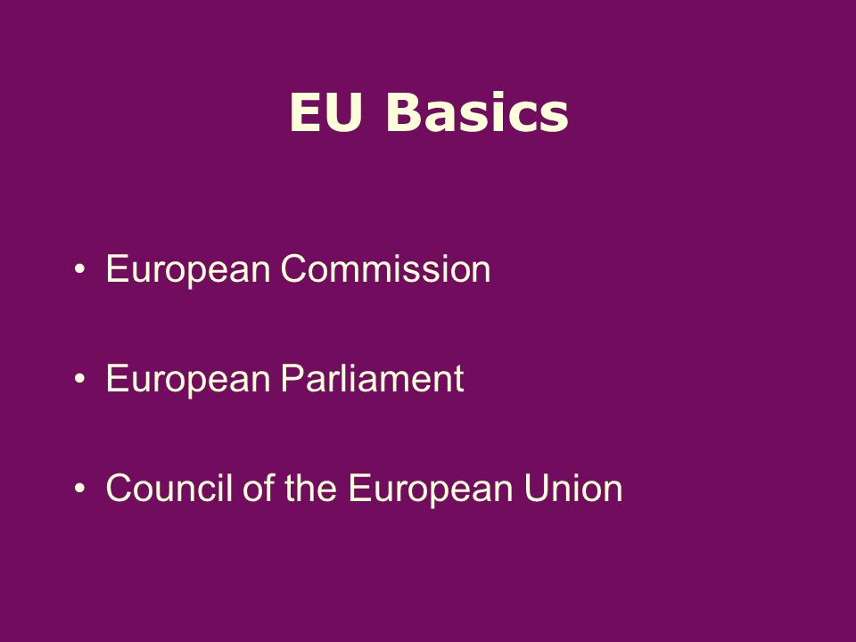 EU Basics European Commission European Parliament Council of the European Union