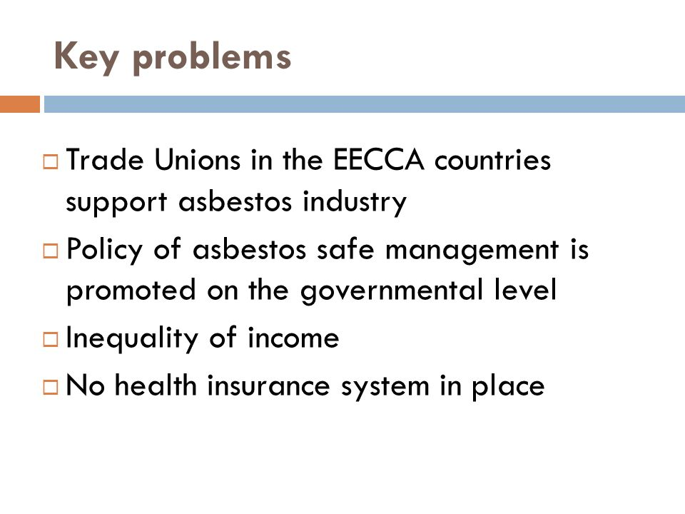 Key problems Trade Unions in the EECCA countries support asbestos industry Policy of asbestos safe management is promoted on the governmental level Inequality of income No health insurance system in place