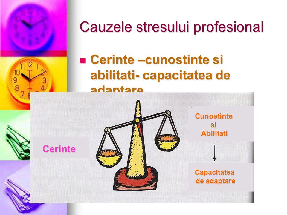Cauzele stresului profesional Cerinte –cunostinte si abilitati- capacitatea de adaptare Cerinte –cunostinte si abilitati- capacitatea de adaptare Ceri