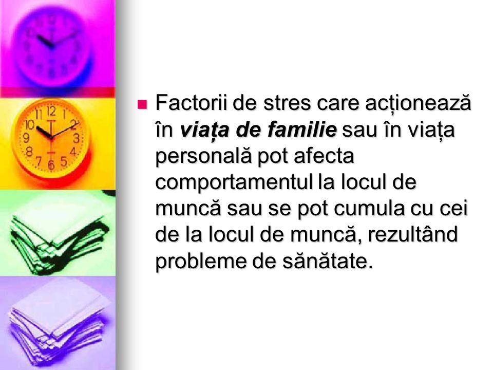 Factorii de stres care acţionează în viaţa de familie sau în viaţa personală pot afecta comportamentul la locul de muncă sau se pot cumula cu cei de l