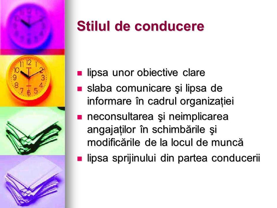 Stilul de conducere lipsa unor obiective clare lipsa unor obiective clare slaba comunicare şi lipsa de informare în cadrul organizaţiei slaba comunica