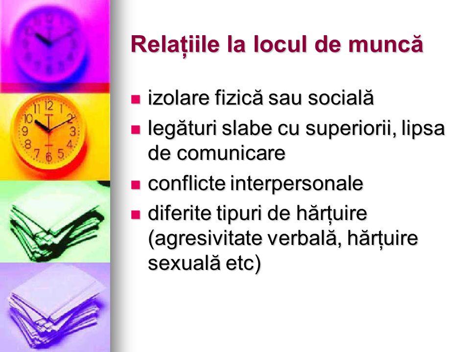 Relaţiile la locul de muncă izolare fizică sau socială izolare fizică sau socială legături slabe cu superiorii, lipsa de comunicare legături slabe cu