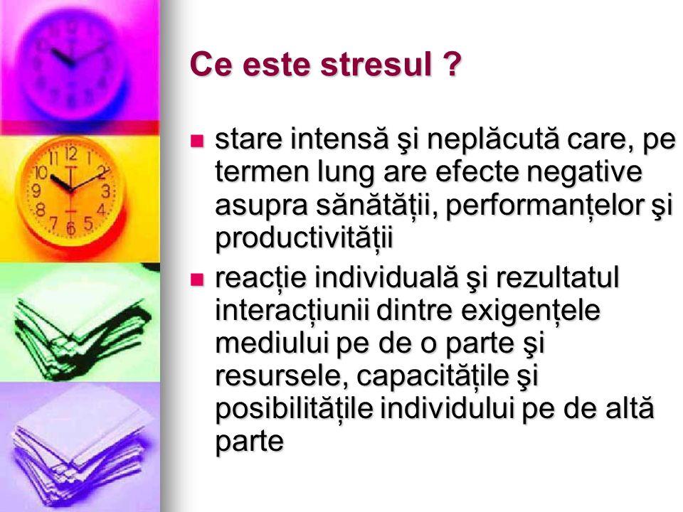Ce este stresul ? stare intensă şi neplăcută care, pe termen lung are efecte negative asupra sănătăţii, performanţelor şi productivităţii stare intens