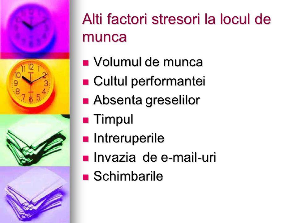 Alti factori stresori la locul de munca Volumul de munca Volumul de munca Cultul performantei Cultul performantei Absenta greselilor Absenta greselilo