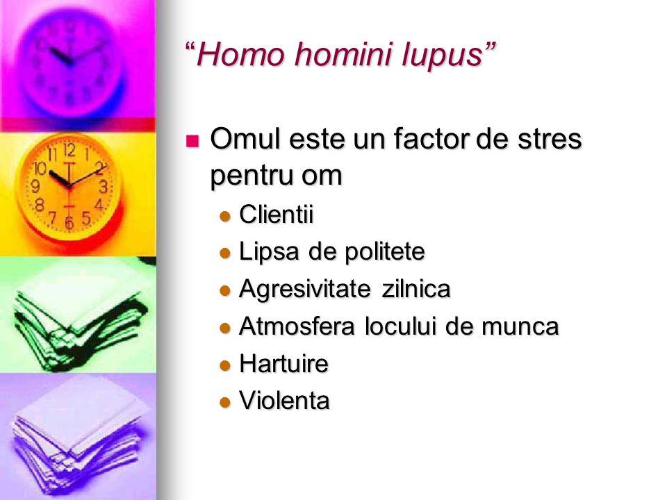Homo homini lupusHomo homini lupus Omul este un factor de stres pentru om Omul este un factor de stres pentru om Clientii Clientii Lipsa de politete L