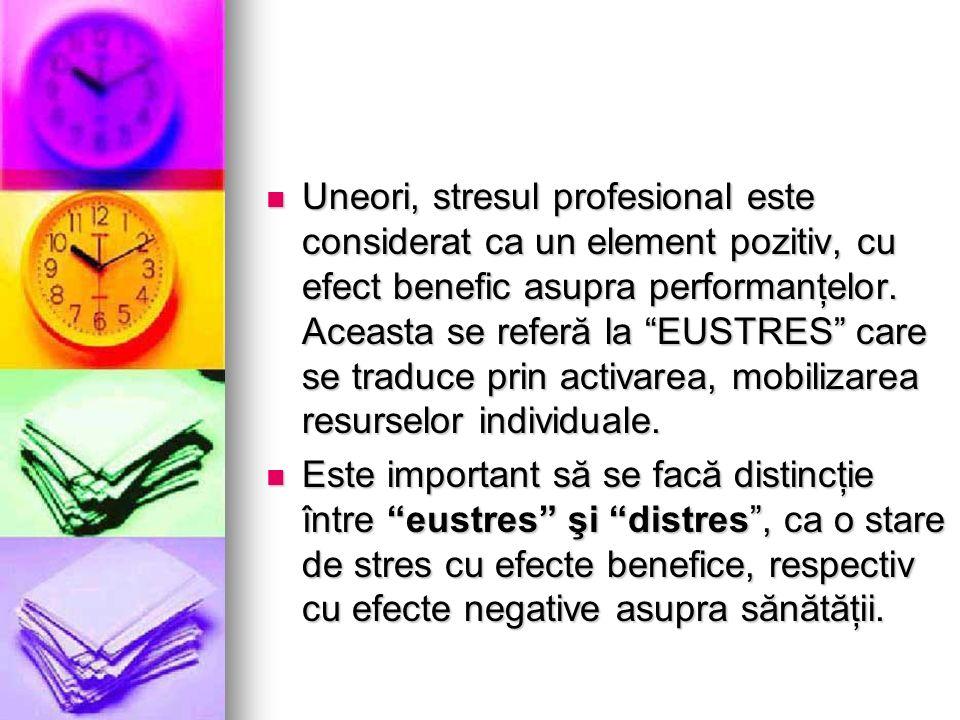 Uneori, stresul profesional este considerat ca un element pozitiv, cu efect benefic asupra performanţelor. Aceasta se referă la EUSTRES care se traduc