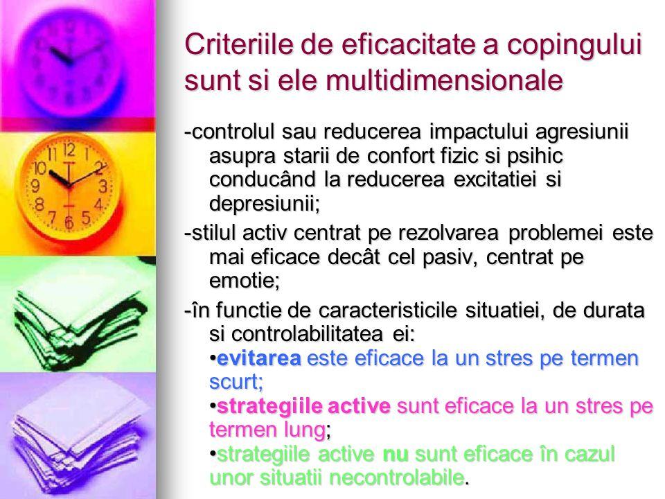 Criteriile de eficacitate a copingului sunt si ele multidimensionale -controlul sau reducerea impactului agresiunii asupra starii de confort fizic si