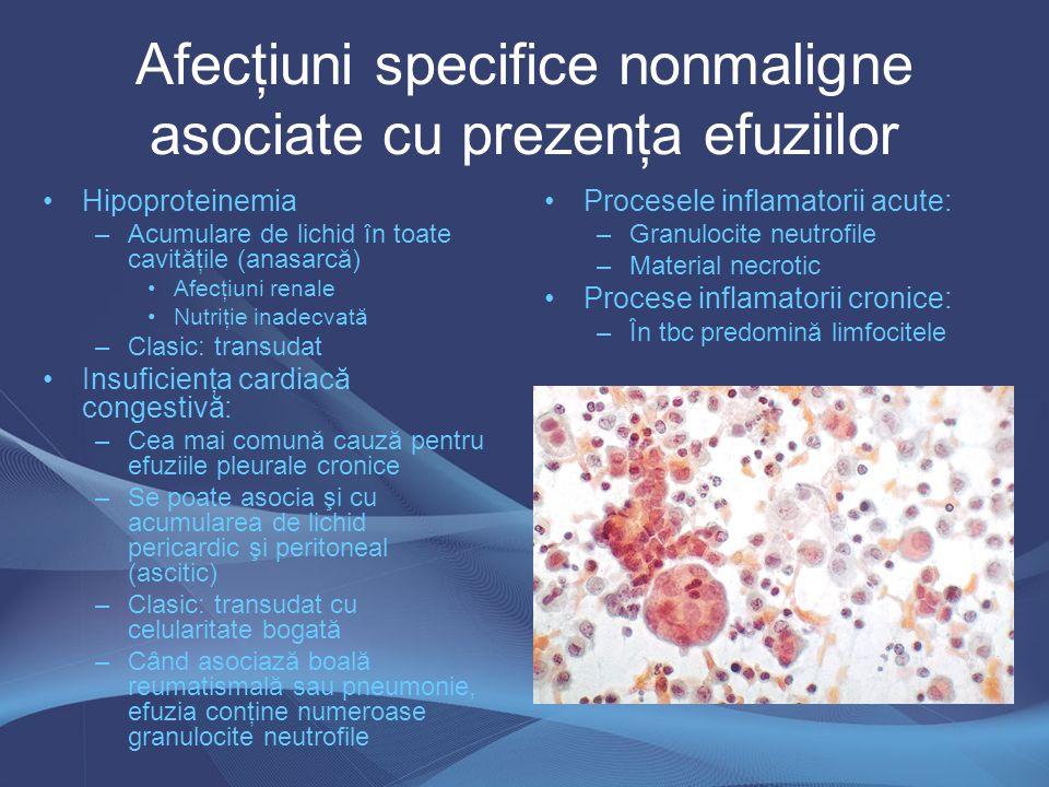 Afecţiuni specifice nonmaligne asociate cu prezenţa efuziilor Hipoproteinemia –Acumulare de lichid în toate cavităţile (anasarcă) Afecţiuni renale Nut