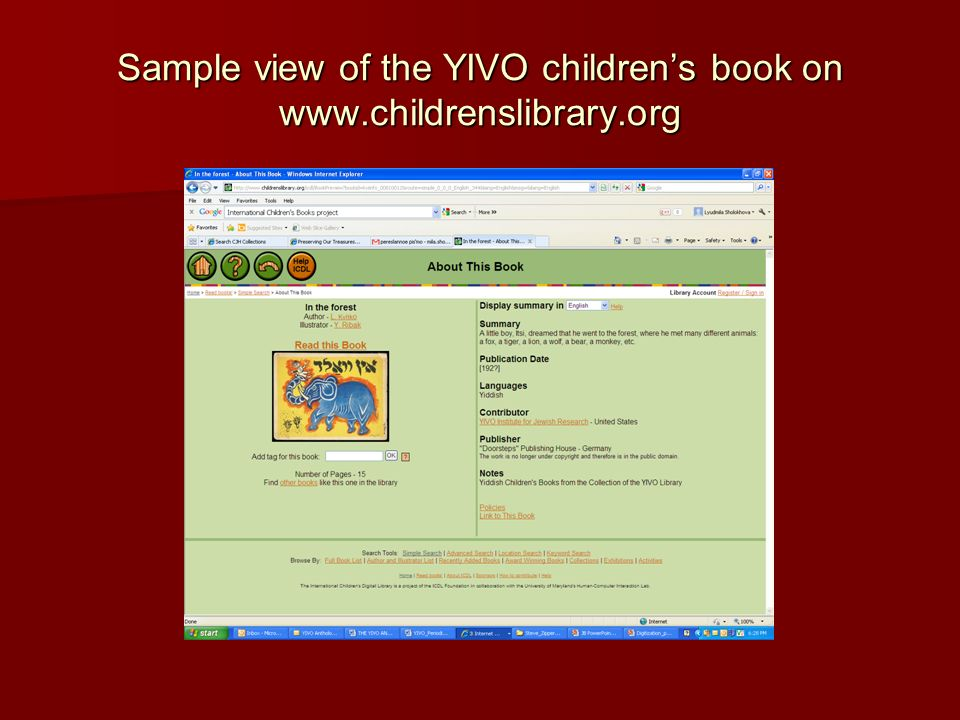 Sample view of the YIVO childrens book on www.childrenslibrary.org