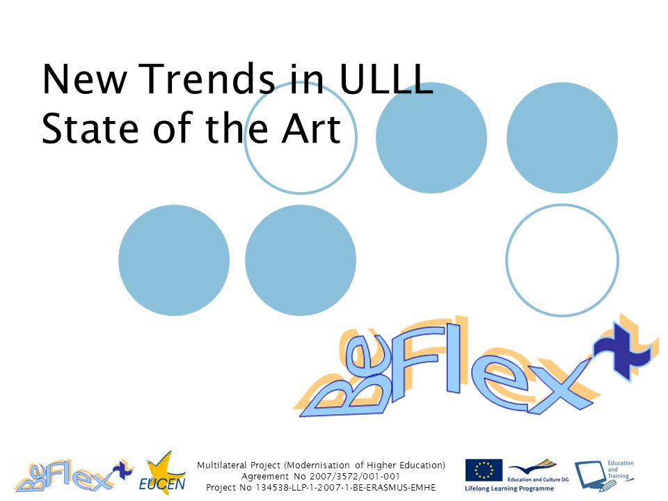 Multilateral Project (Modernisation of Higher Education) Agreement No 2007/3572/ Project No LLP BE-ERASMUS-EMHE New Trends in ULLL State of the Art