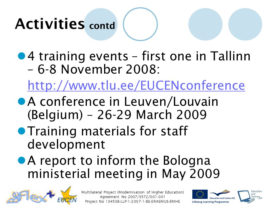 Multilateral Project (Modernisation of Higher Education) Agreement No 2007/3572/ Project No LLP BE-ERASMUS-EMHE Activities contd 4 training events – first one in Tallinn – 6-8 November 2008:   A conference in Leuven/Louvain (Belgium) – March 2009 Training materials for staff development A report to inform the Bologna ministerial meeting in May 2009