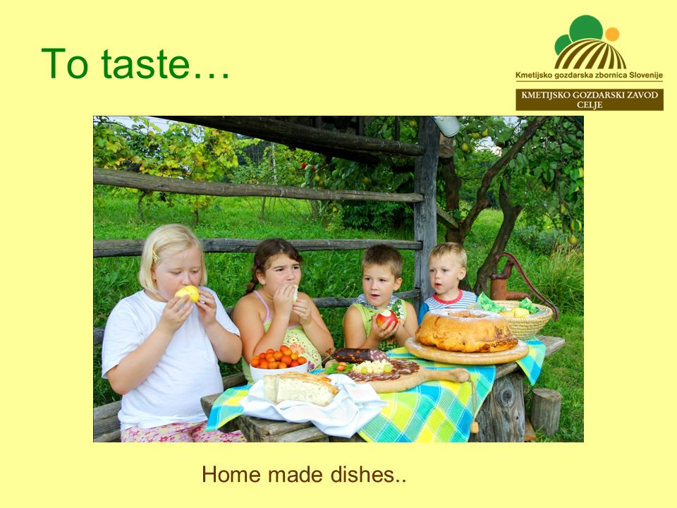 To taste… Home made dishes..