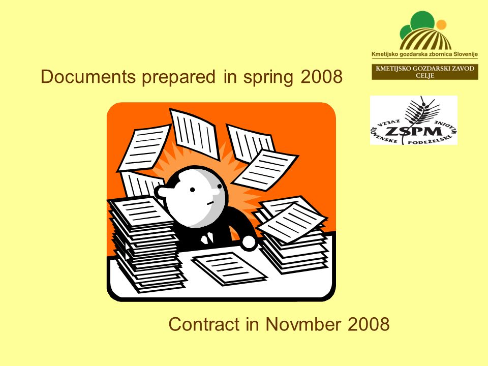 Documents prepared in spring 2008 Contract in Novmber 2008