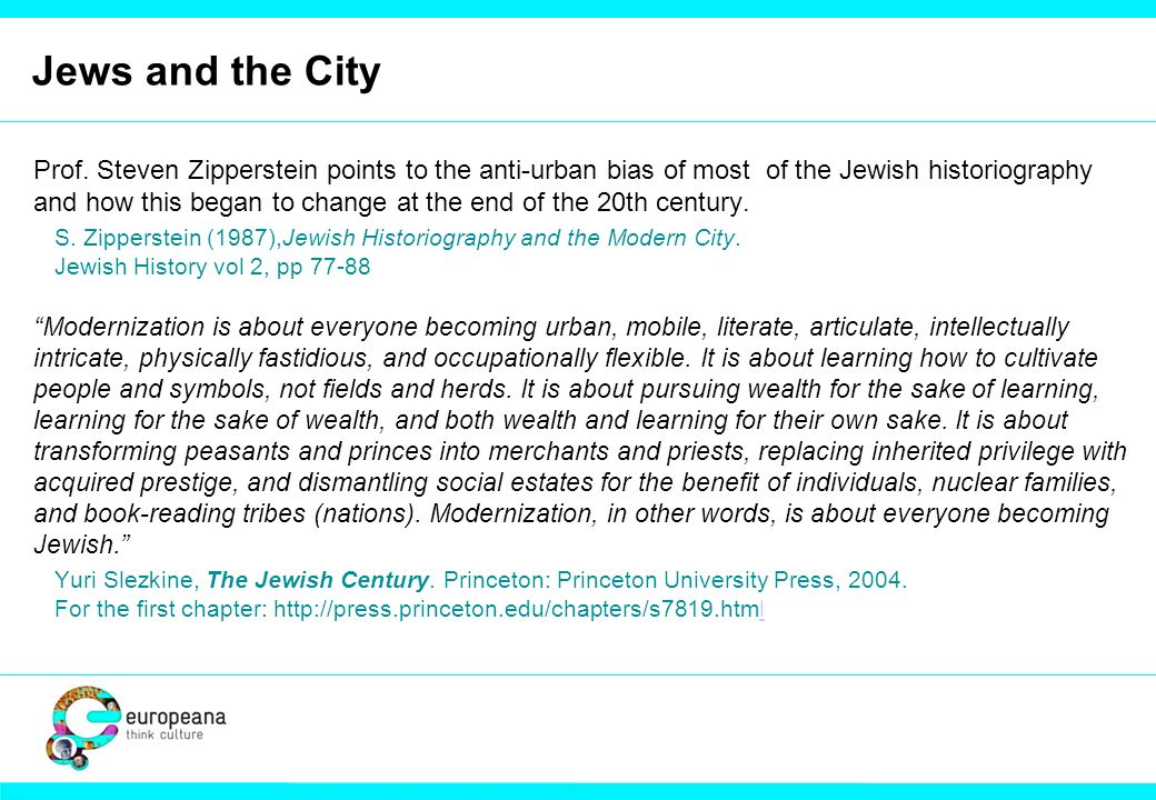 Jews and the City Prof.