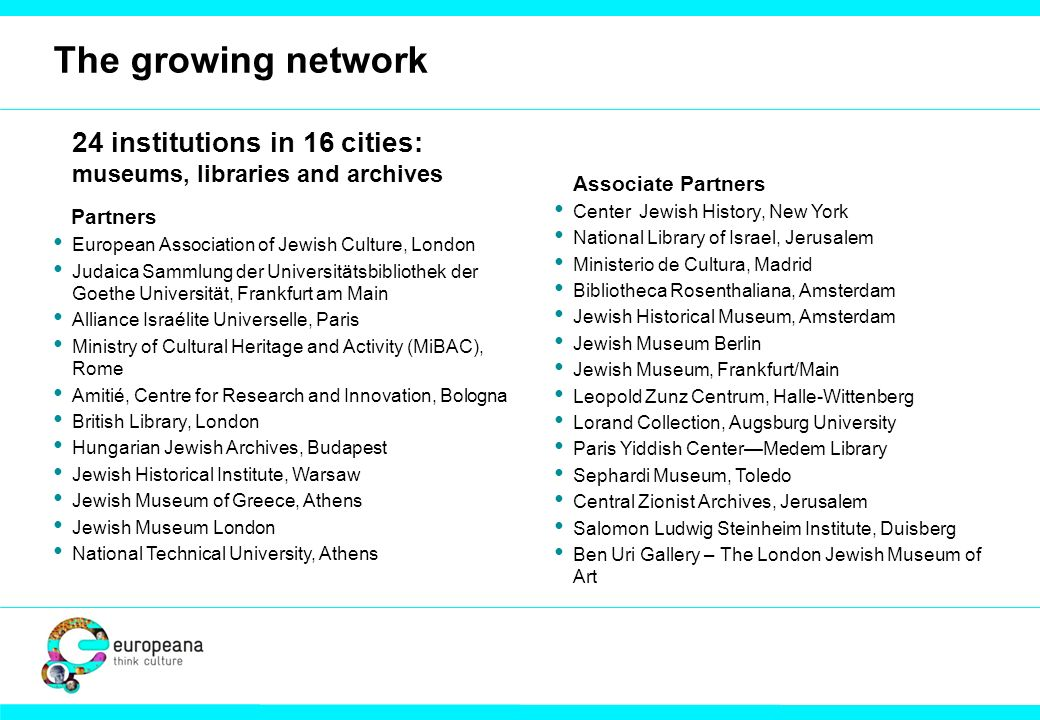 The growing network 24 institutions in 16 cities: museums, libraries and archives Partners European Association of Jewish Culture, London Judaica Sammlung der Universitätsbibliothek der Goethe Universität, Frankfurt am Main Alliance Israélite Universelle, Paris Ministry of Cultural Heritage and Activity (MiBAC), Rome Amitié, Centre for Research and Innovation, Bologna British Library, London Hungarian Jewish Archives, Budapest Jewish Historical Institute, Warsaw Jewish Museum of Greece, Athens Jewish Museum London National Technical University, Athens Associate Partners Center Jewish History, New York National Library of Israel, Jerusalem Ministerio de Cultura, Madrid Bibliotheca Rosenthaliana, Amsterdam Jewish Historical Museum, Amsterdam Jewish Museum Berlin Jewish Museum, Frankfurt/Main Leopold Zunz Centrum, Halle-Wittenberg Lorand Collection, Augsburg University Paris Yiddish CenterMedem Library Sephardi Museum, Toledo Central Zionist Archives, Jerusalem Salomon Ludwig Steinheim Institute, Duisberg Ben Uri Gallery – The London Jewish Museum of Art