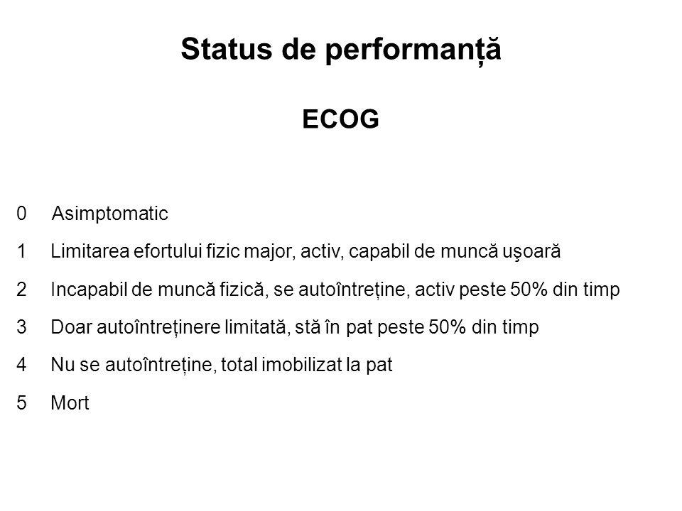 Status de performanţă ECOG 0 Asimptomatic 1Limitarea efortului fizic major, activ, capabil de muncă uşoară 2Incapabil de muncă fizică, se autoîntreţin