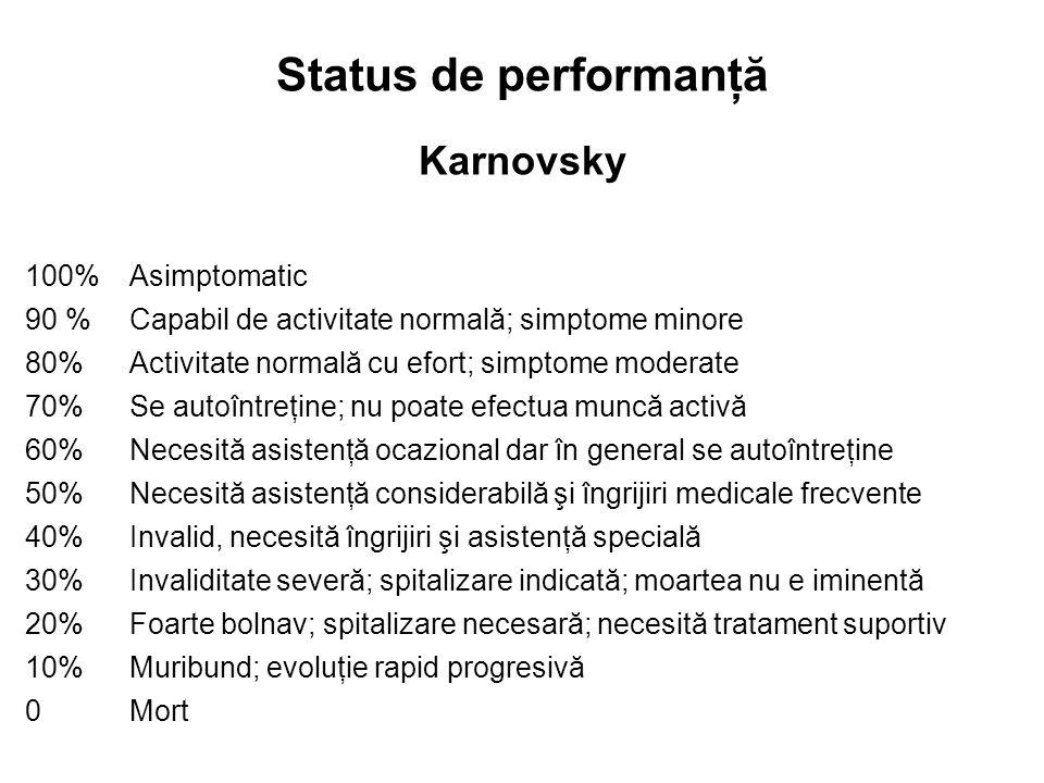 Status de performanţă Karnovsky 100%Asimptomatic 90 %Capabil de activitate normală; simptome minore 80% Activitate normală cu efort; simptome moderate