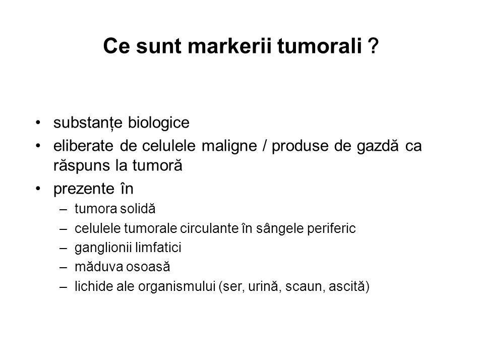Ce sunt markerii tumorali substanţe biologice eliberate de celulele maligne / produse de gazdă ca răspuns la tumoră prezente în –tumora solidă –celule