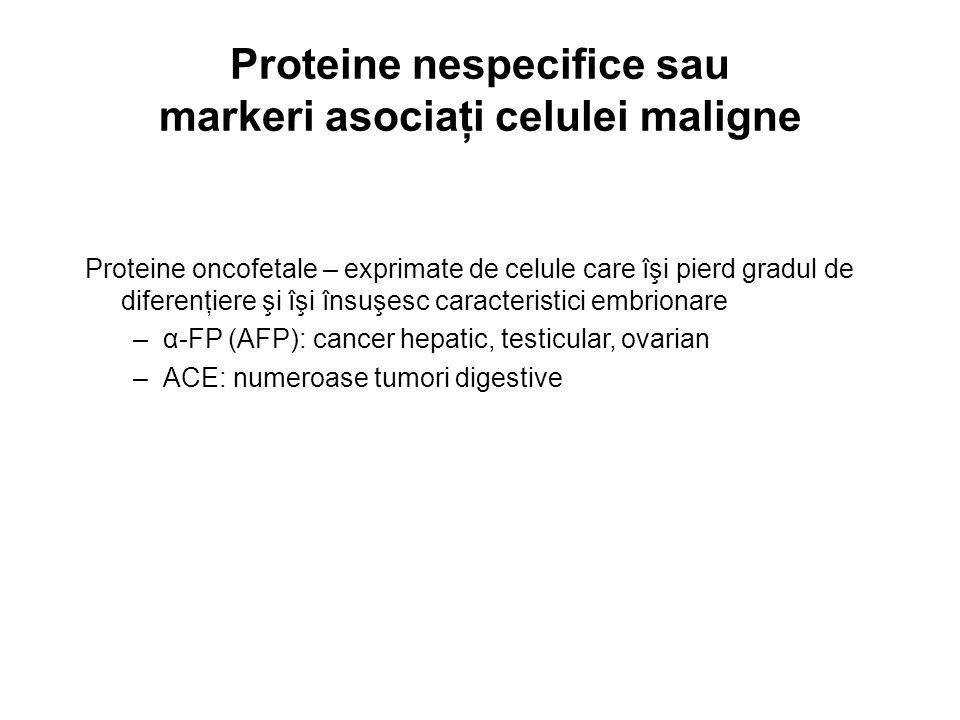 Proteine nespecifice sau markeri asociaţi celulei maligne Proteine oncofetale – exprimate de celule care îşi pierd gradul de diferenţiere şi îşi însuş