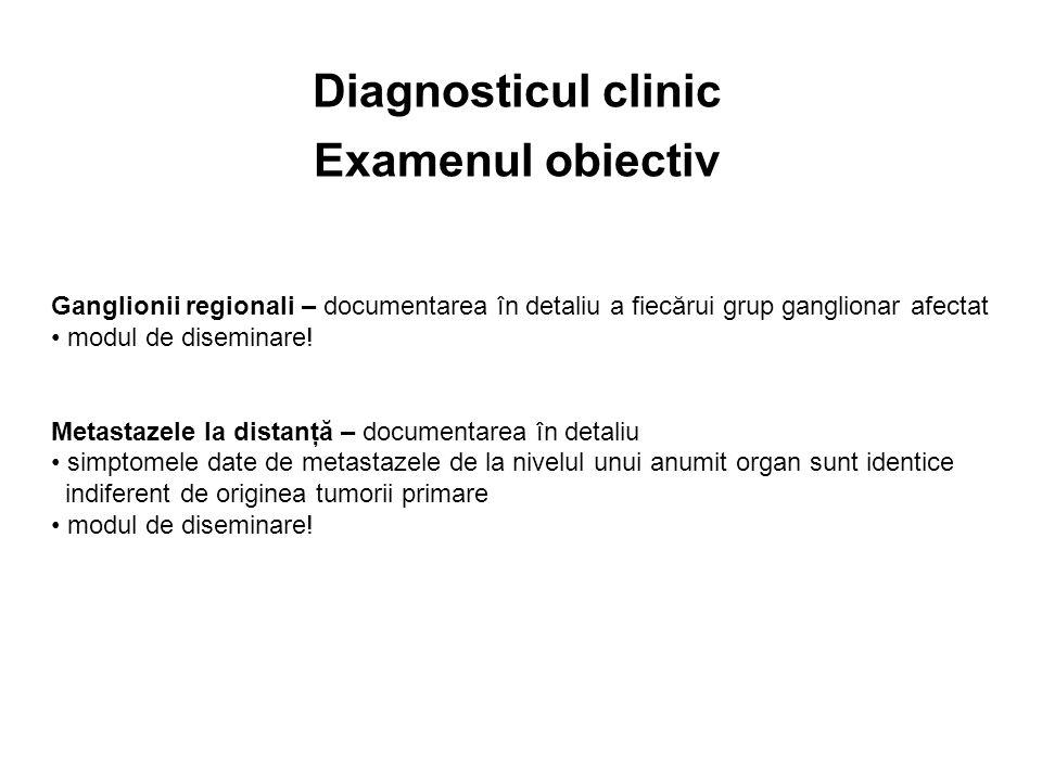 Ganglionii regionali – documentarea în detaliu a fiecărui grup ganglionar afectat modul de diseminare! Metastazele la distanţă – documentarea în detal