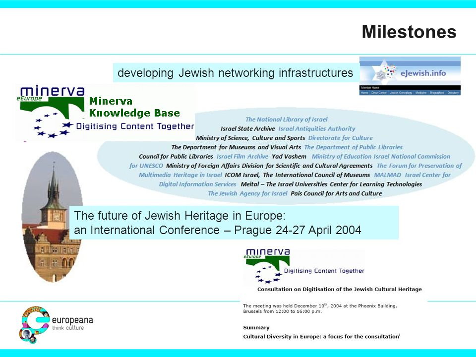 Milestones T The future of Jewish Heritage in Europe: an International Conference – Prague 24-27 April 2004 developing Jewish networking infrastructures