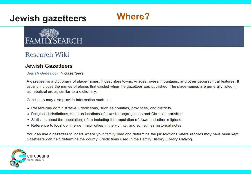 Jewish gazetteers Where?