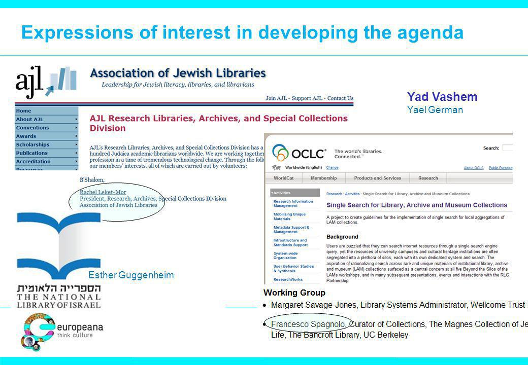 Expressions of interest in developing the agenda Dd dd Esther Guggenheim Yad Vashem Yael German