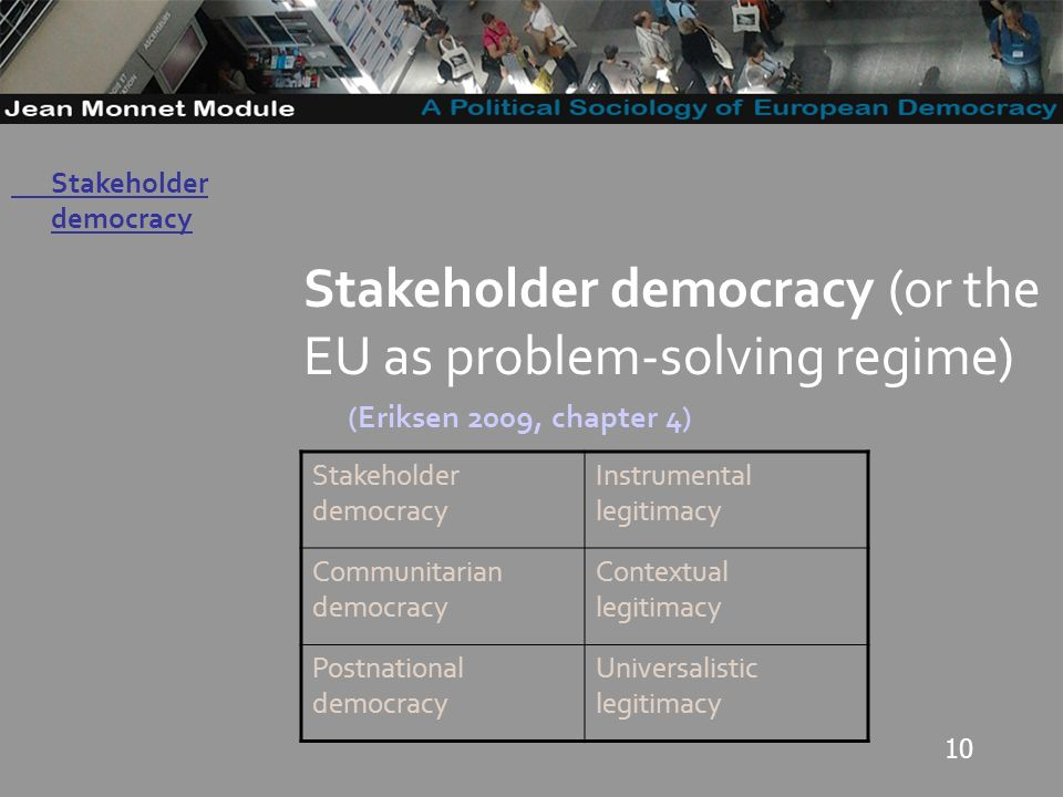 10 Governo Locale Stakeholder democracy (or the EU as problem-solving regime) (Eriksen 2009, chapter 4) Stakeholder democracy Instrumental legitimacy Communitarian democracy Contextual legitimacy Postnational democracy Universalistic legitimacy