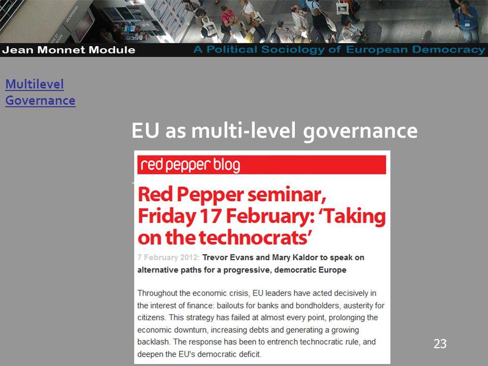 23 Governo Locale EU as multi-level governance -. Multilevel Governance