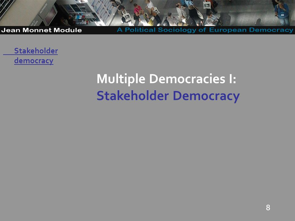 19 Governo Locale Stakeholder democracy -On the EU level, a stakeholder democracy would be about economic integration, and little onus on collective tasks and obligations beyond the narrow interests and preferences of the member states (Eriksen 2009: 61); -In such a stakeholder approach, only weak legitimation is needed (Scharpf 2003).