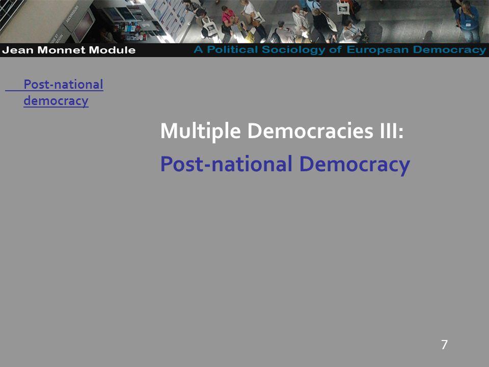 7 Multiple Democracies III: Post-national Democracy Post-national democracy