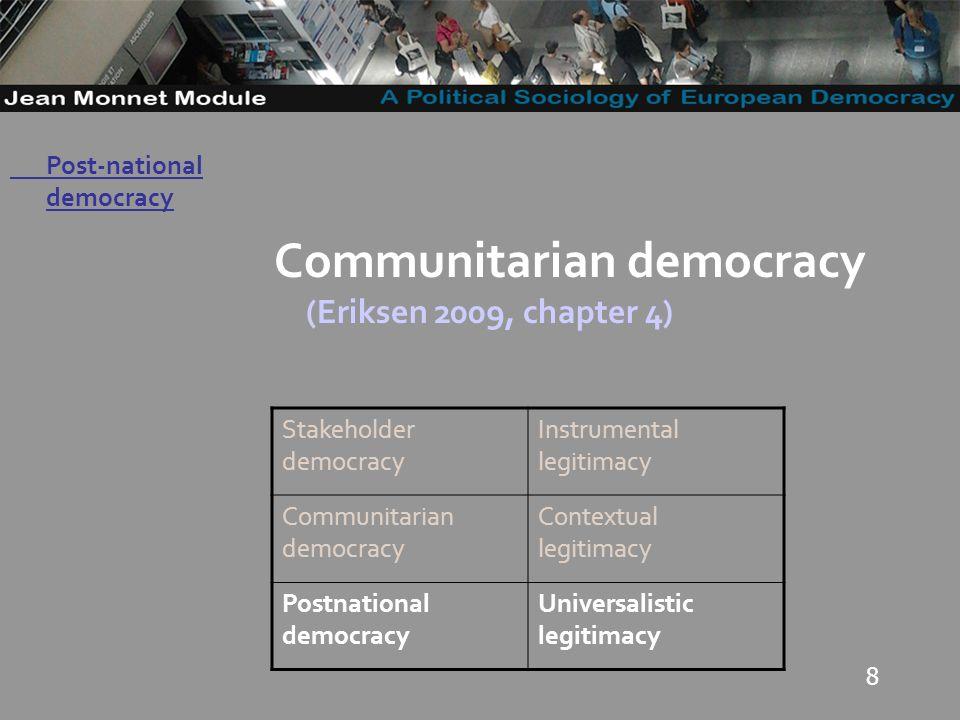 8 Governo Locale Communitarian democracy (Eriksen 2009, chapter 4) Stakeholder democracy Instrumental legitimacy Communitarian democracy Contextual legitimacy Postnational democracy Universalistic legitimacy Post-national democracy
