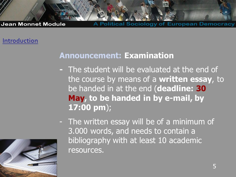 5 Introduction Governo Locale Announcement: Examination -The student will be evaluated at the end of the course by means of a written essay, to be handed in at the end (deadline: 30 May, to be handed in by e-mail, by 17:00 pm); -The written essay will be of a minimum of 3.000 words, and needs to contain a bibliography with at least 10 academic resources.