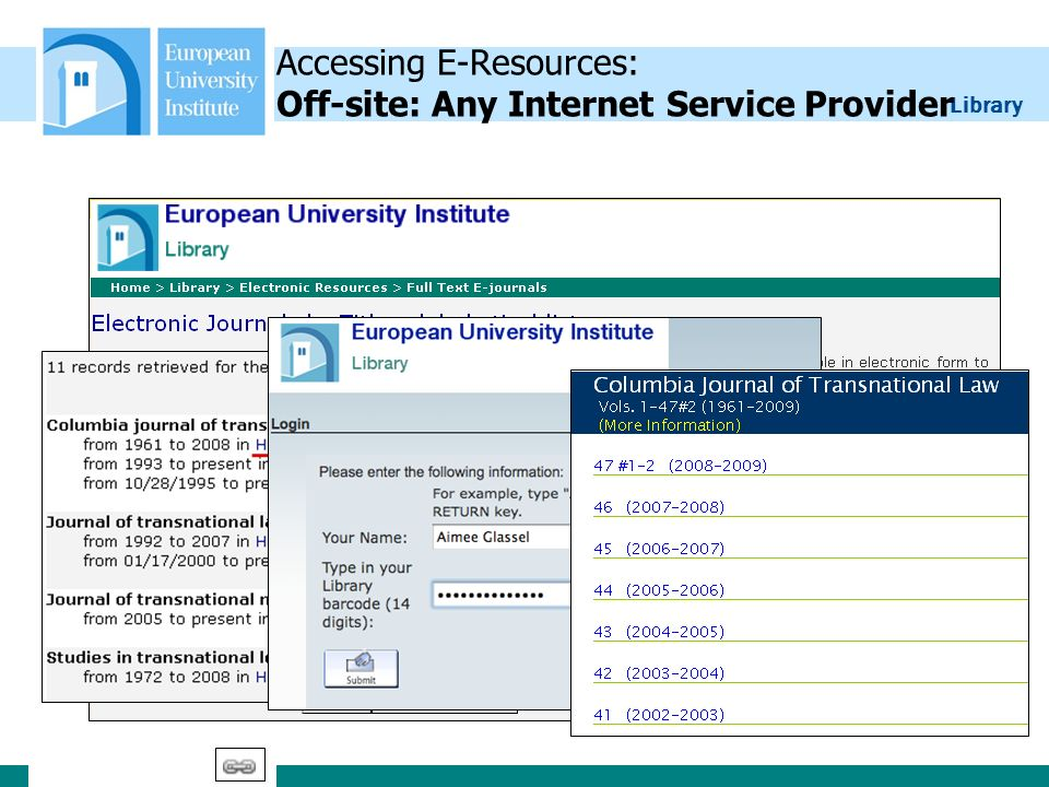 Library 23 Accessing E-Resources: Off-site: Any Internet Service Provider