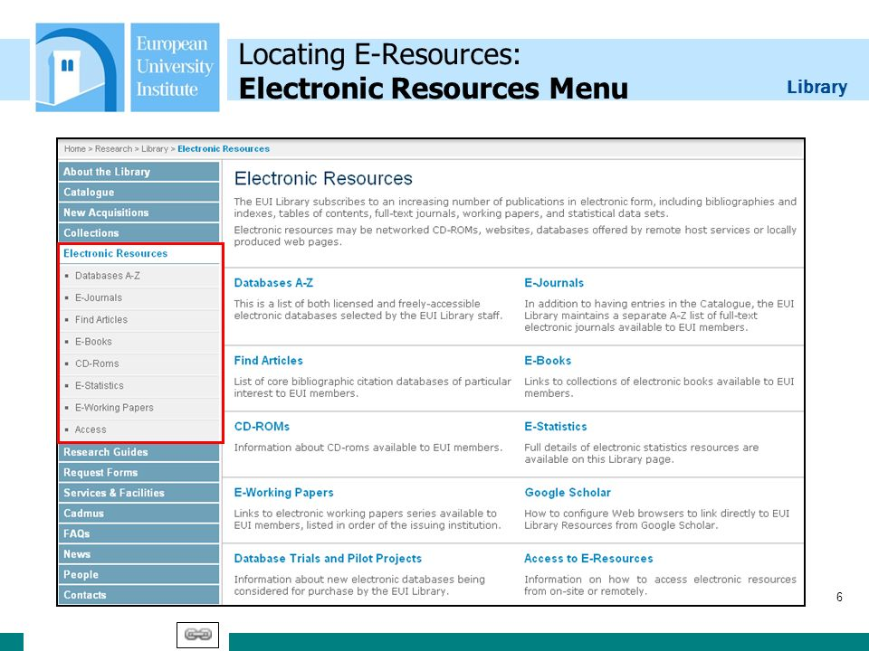 Library 6 Locating E-Resources: Electronic Resources Menu