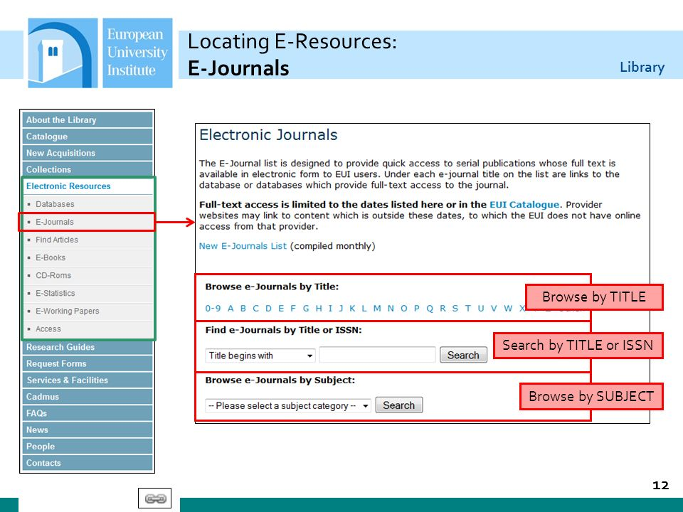 Library Locating E-Resources: E-Journals 12 Browse by TITLE Search by TITLE or ISSN Browse by SUBJECT