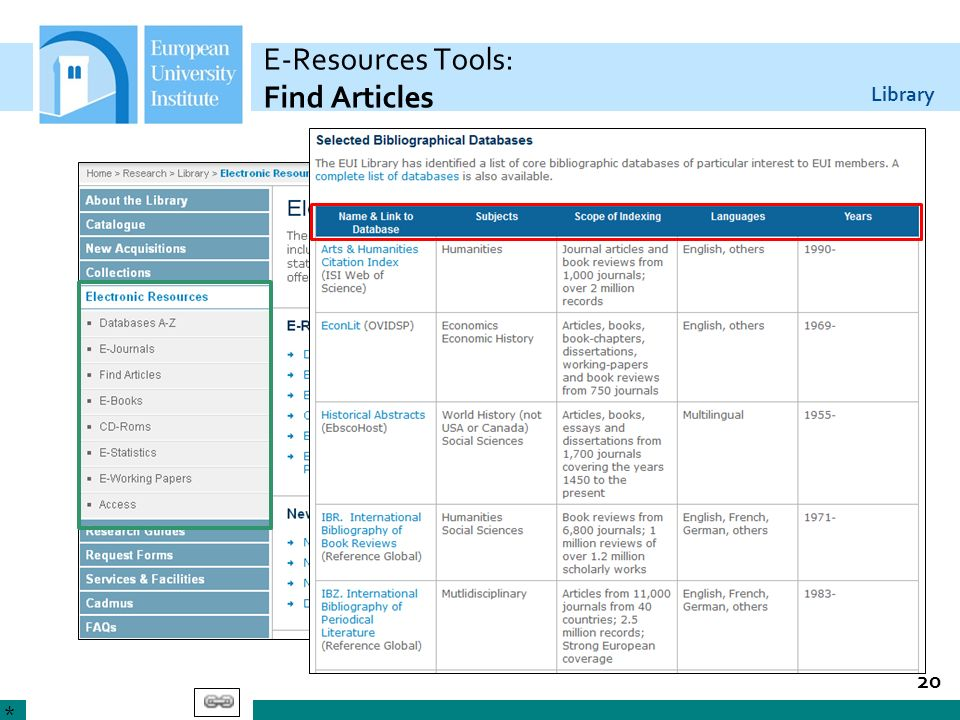 Library E-Resources Tools: Find Articles 20 *
