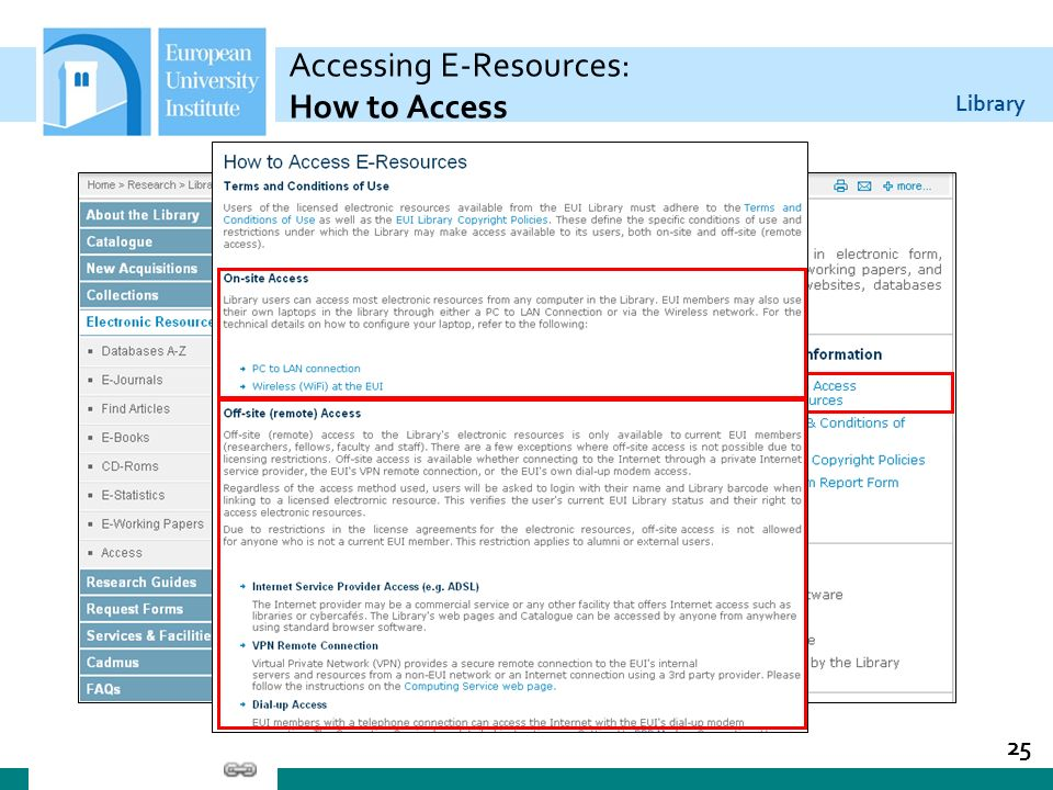 Library Accessing E-Resources: How to Access 25
