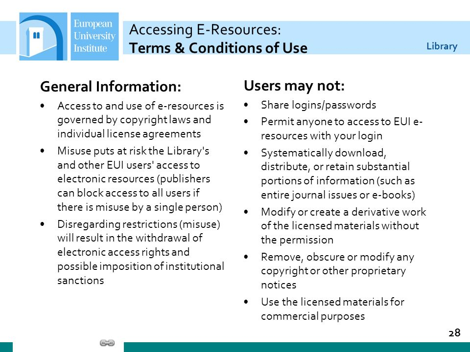 Library Accessing E-Resources: Terms & Conditions of Use General Information: Access to and use of e-resources is governed by copyright laws and indiv