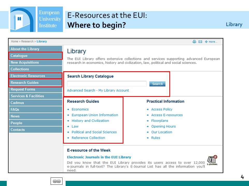 Library E-Resources at the EUI: Where to begin? 4
