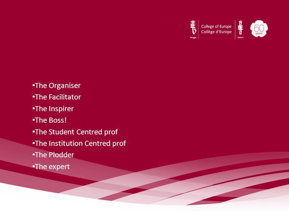 The Organiser The Facilitator The Inspirer The Boss! The Student Centred prof The Institution Centred prof The Plodder The expert