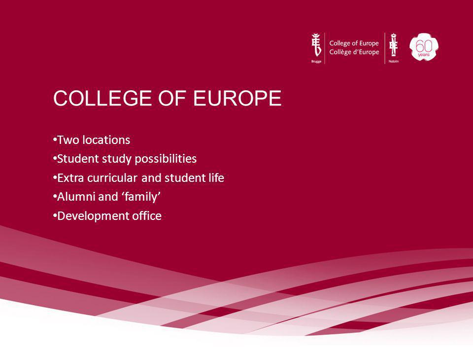 COLLEGE OF EUROPE Two locations Student study possibilities Extra curricular and student life Alumni and family Development office